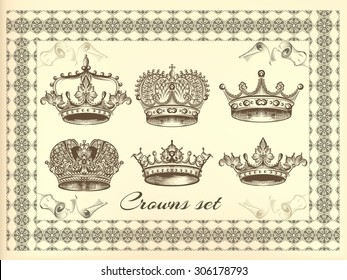 Set of vector hand drawn crowns in engraved style. Filigree drawn crowns in vintage style