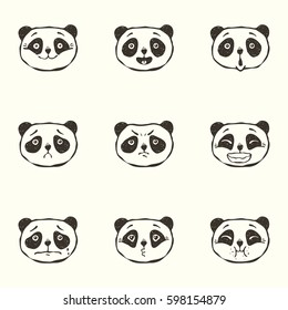 81b5b938873a Set of vector hand drawn doodle faces of the panda with different emotions
