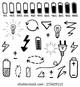 Set of vector hand drawn electricity icon. Perfect for design. Vector illustration.