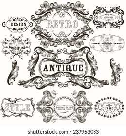 Set of vector hand drawn frames in vintage style