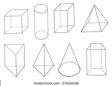 Set of vector hand drawn geometric figures. Geometric shapes isolated on white background.