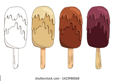 Set of vector hand drawn ice creams. Eskimo pie isolated on white background. Colored and Contour Sketch Images. Summer linear design. Pack of chocolate ice cream. Ice lolly. Popsicle cake.