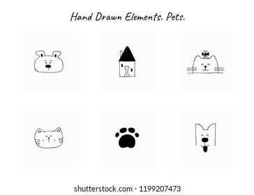 Set of vector hand drawn icons, domestic animals. Logo elements for pets related business. Illustration for pet shop or cafe, hotel or a dog walker, veterinary clinic. Isolated symbols.