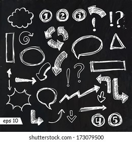 Set of vector hand drawn infographic design elements on chalkboard for your design