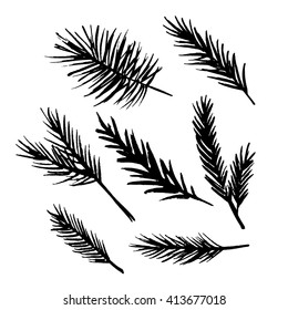 Set of vector hand drawn ink fir tree and pine branches.