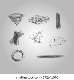 Set of vector hand drawn lines