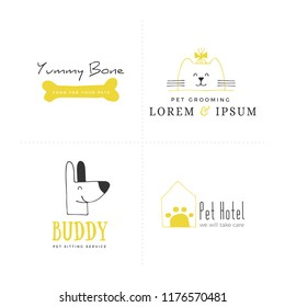 Set of vector hand drawn logo templates, domestic animals. Elements for pets related business. Illustration for pet shop or cafe, hotel or a dog walker, veterinary clinic. Isolated symbols.