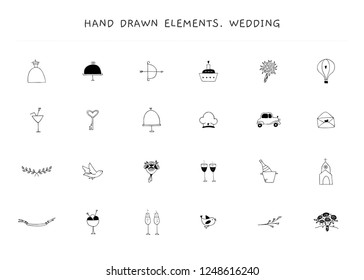 Set of vector hand drawn logo elements. Romantic and wedding feminine clipart. For business branding and identity, greeting cards, overlays. Black on white isolated symbols.
