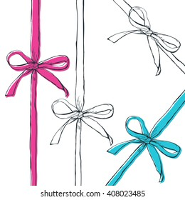 Set of vector hand drawn outline bow ribbons, isolated on white background. Black, white, pink, blue doodle bows and ribbons. Gift, holiday, decoration symbol and design elements.