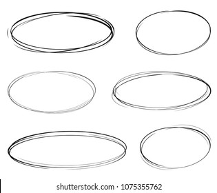 Set of vector hand drawn ovals. Circular scribble doodle round ovals for message - stock vector.