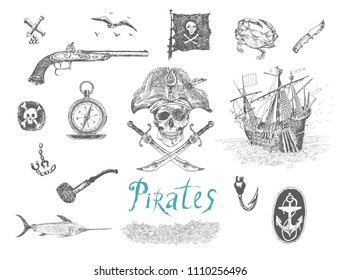 Set of vector hand drawn pirates elements. Piracy weapon, flag, skull and bones, sea compass, symbols of seafarers. Retro vintage Illustration in ancient engraving style