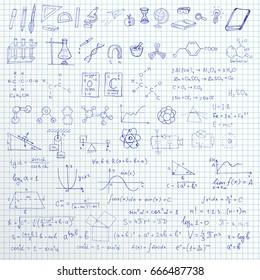 Set of vector hand drawn school symbols, graphics and formulas on linned paper background.
