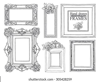 Set of vector hand drawn vintage frames.
