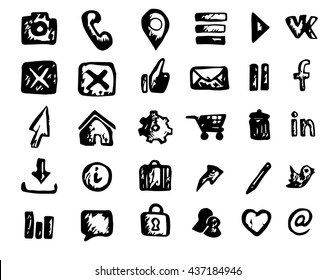 Set of vector hand drawn web icons