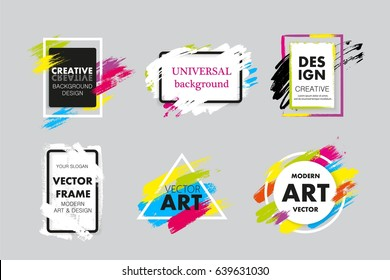 Set of vector hand painted brush frames, quote backgrounds. Place for text, advertisement, boxes for information. Bright colorful modern art design for cards, invitations, brochures.