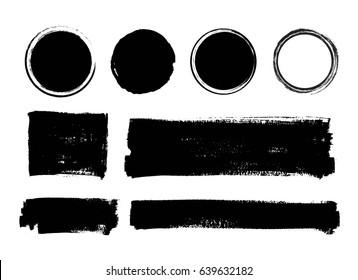 Set of vector hand painted brush strokes, speech bubble boxes, frames, quote backgrounds. Place for text, advertisement, information.