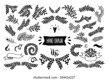 Set of vector handdrawn elements, floral doodle collection. Decoration branches for design invitation, wedding cards, valentines day