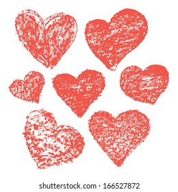 Set of vector hand-drawn hearts for Valentine's card design.