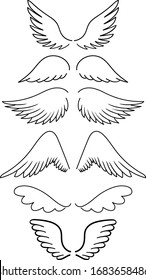 Set of vector hand-drawn silhouette wings of different shapes