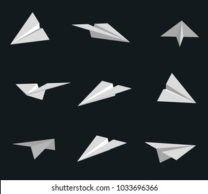Set of vector handmade paper planes isolated on black background. Origami illustration.