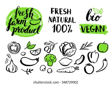 Set of vector handwritten elements with rough edges. Farm natural product. Ink brush lettering. Hand drawn vegetables. Lettering. Badges. Healthy food icons.