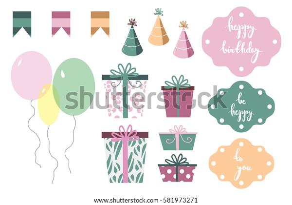 Set of vector happy birthday party items