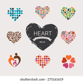 Set of vector heart icons, elements and symbols