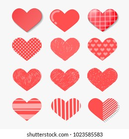 Set of Vector hearts set in Different style such as hand drawn, paper art, polka dots, etc.