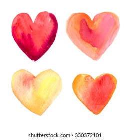 Set of vector hearts for Valentine's Day in a watercolor style. Handmade.