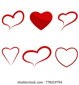Set of vector hearts for Valentine's day, wedding and love.