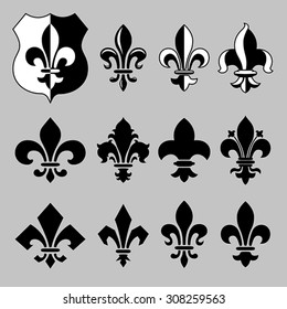 "Set of vector heraldic elements, ""fleur de lis"" in different styles. EPS 8, CMYK"