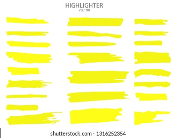 Set Vector highlighter. Hand drawn yellow highlight marker stripes. Vector illustration EPS10