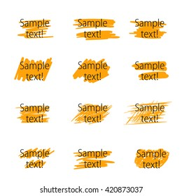 Set of vector highlighter marker strokes for text accentuation