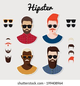 Set of vector hipster characters with hairstyle, beards, mustaches and glasses.