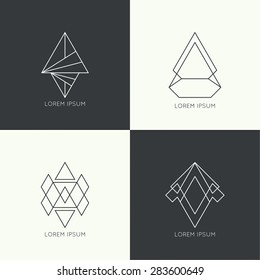 Set of vector hipster logo, badge, monogram, banner, insignias.