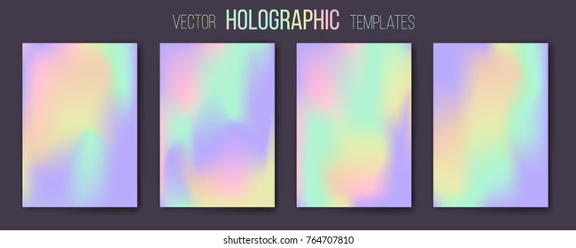 Set of vector holographic gradient templates. Empty blank templates for cover, presentation, brochure or background. Easy to modify and resize. Was made using full vector gradient mesh tool