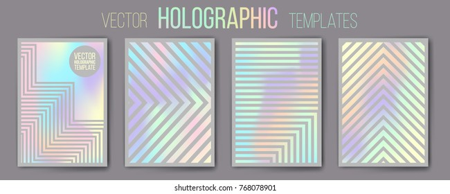 Set of vector holographic gradient templates - shiny and mat. Empty blank templates for cover, presentation, brochure or background. Easy to modify, resize. Made using full vector gradient mesh tool