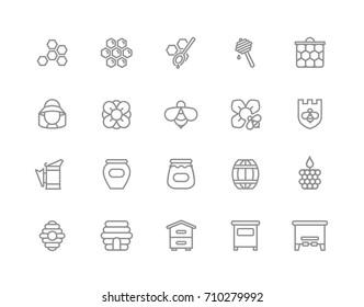 Set of vector honey line icons. Bee, honeycomb, barrel, beekeeper, dipper, jar, flower, beehive, pot, hexagon, beeswax, spoon and more. Editable Stroke.
