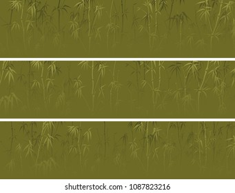 Set of vector horizontal banner with many bamboos tree in green color.