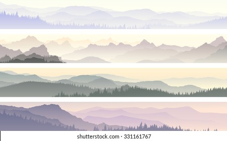Set vector horizontal banners of morning misty coniferous forest hills.