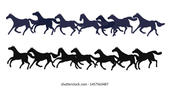 Set of vector horses isolated on white background. Collection of purebred thoroughbred horses in flat modern style. Vector animals