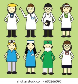set vector of hospital doctor,nurse,medical staff team