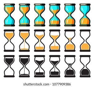 Set of Vector Hourglass Collection. Sand Clocks for Sprite Sheet Animation. Vintage Hourglass Timer Sand as Countdown Illustration