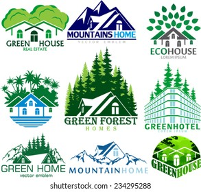 Set of Vector house abstract real estate label emblems