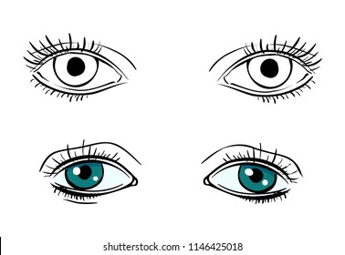Set vector human eyes