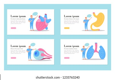 Set of vector human organs. Doctor talks about human organs. Vector concept of medical care and medical education