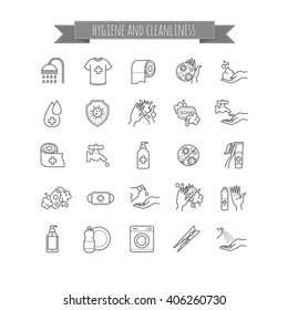 set of vector hygiene and cleanliness icons. Thin line set for your design