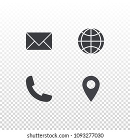 Set of vector icon for design business card, website or nobile app. Envelope, globe, phone and tag symbols.