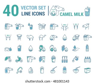Set vector icon graphic thin outline in a linear design. Element emblem symbols. camel's milk. Organic product. Milk cosmetics for hand care, hair care, treatment liver and body