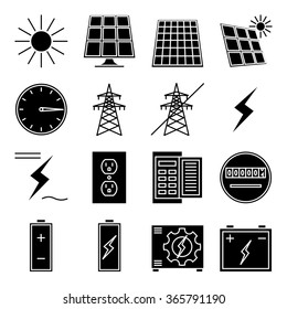 "Set of vector icon ""Solar power"""